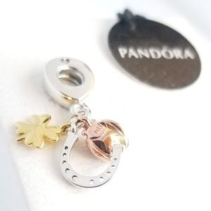 Pandora Horseshoe, Clover & Ladybird Dangle Silver